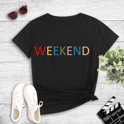 Colorful Simple Text Printing T-shirts NSYIC60477