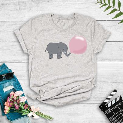 Short-sleeved Cute Balloon Baby Elephant Print T-shirt NSYIC60480
