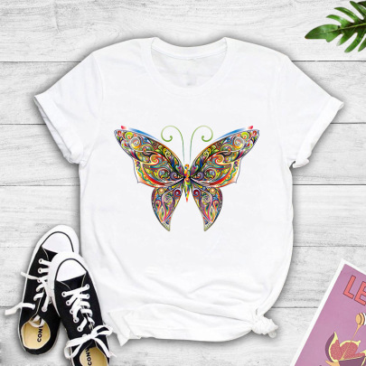 Colorful Gorgeous Art Flower Butterfly Print T-shirt NSYIC60482