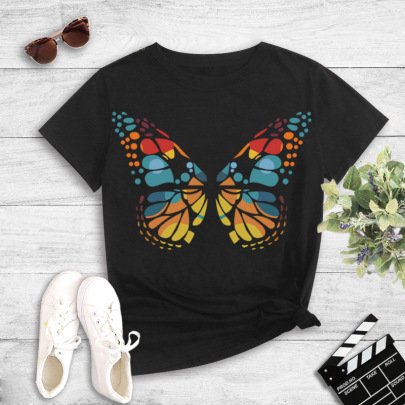 Large Size Color Butterfly Printing T-shirt NSYIC60486