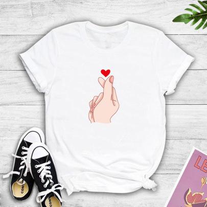 Creative High-definition Large Size Finger Heart Print T-shirt NSYIC60487