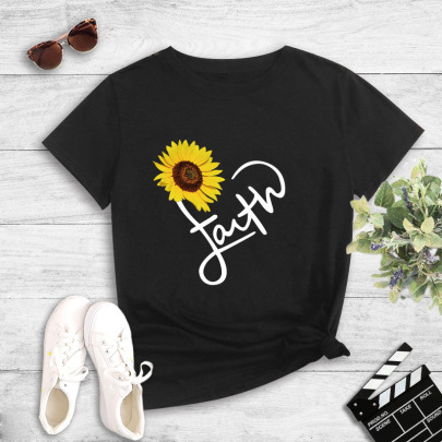 Student Street Sunflower Letter Printed T-shirt NSYIC60489