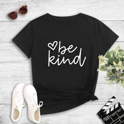 Simple Pure Letter Printing T-shirt NSYIC60491
