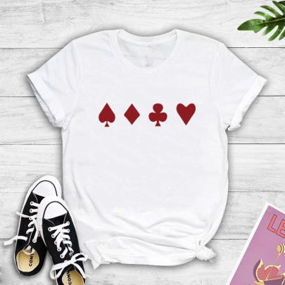 Short-sleeved Poker Flower Printed T-shirt NSYIC60495