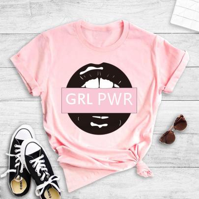 Short-sleeved Text Lip Print T-shirt NSYIC60498