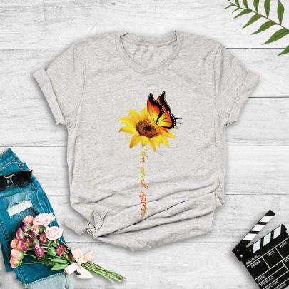 Butterfly Sunflower Print T-shirt NSYIC60499