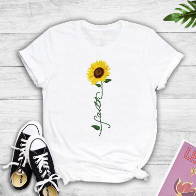 Creative Sunflower English Printing T-shirt NSYIC60500