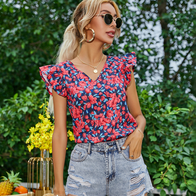 Printed Puff Sleeve Ruffled V-neck Pullover Top NSYID60748