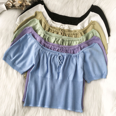 Square Neck Lace Navel Puff Sleeve Knit Sweater NSYAY60743