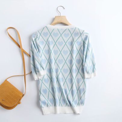 Round Neck Short-sleeved Western-style Blue Love Bottoming Sweater NSYAY60741
