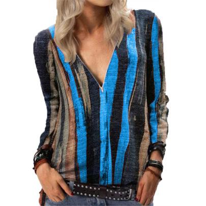 Striped Printing Long-sleeved T-shirt V-neck Zipper Top NSYF60884