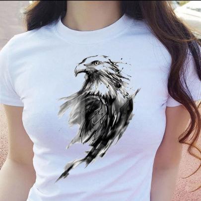 Fashion Graffiti Eagle Print Short-sleeved T-shirt  NSATE60891