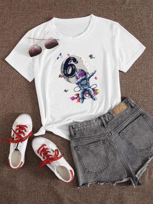 Cartoon Astronaut No. 6 Printed Short-sleeved T-shirt NSATE60895