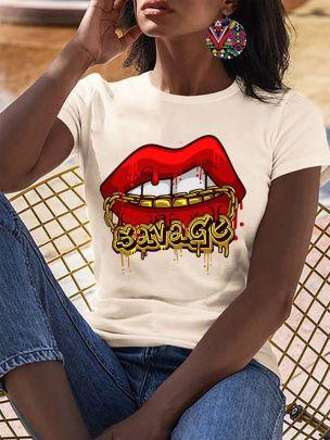 Kissmi Letters Lips Letter Printing Short-sleeved T-shirt  NSATE60897