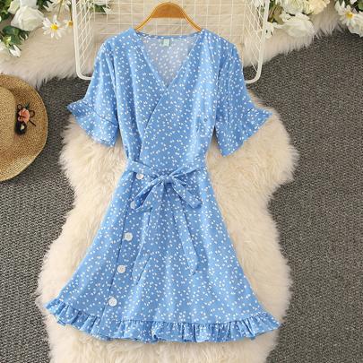 Summer New Floral Frill Trim Dress NSXMI62460