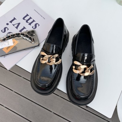 New Fashion Chain Leather Flat Shoes  NSHU61101