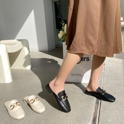 Flat Square Toe Soft Bottom Chain Flats NSHU61102