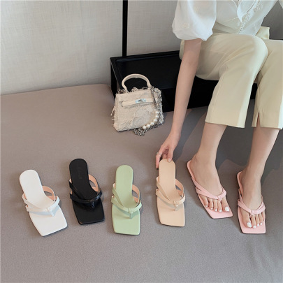 Fashion Solid Color Square Toe Thong Sandals NSHU61104