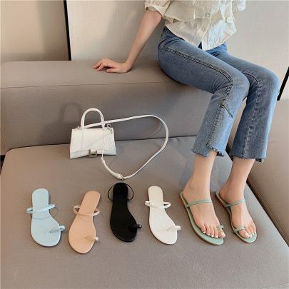 Fashion Plain Color Flat Slide Sandals NSHU61106