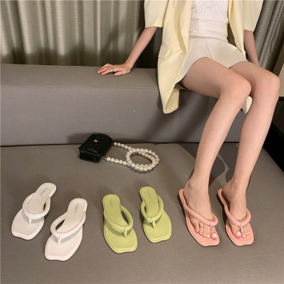 Summer Solid Color Thong Sandals NSHU61108