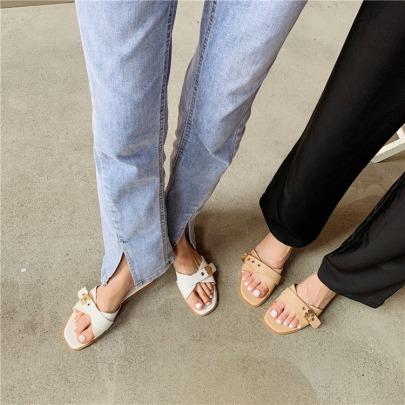 New Metal Buckle Square Toe Open Toe Flat Slippers NSHU61110