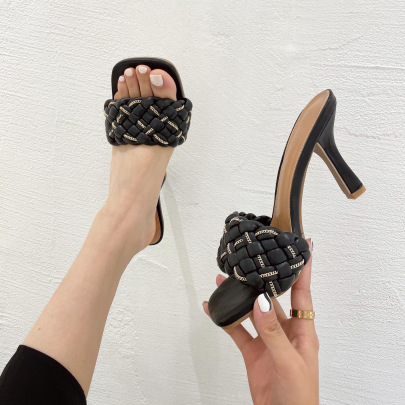 Square Open-toes Woven Stiletto Sandals NSHU61113