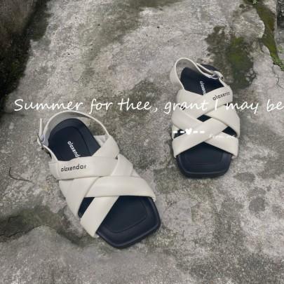 Fashion Cross Leather Flat Sandals NSHU61114