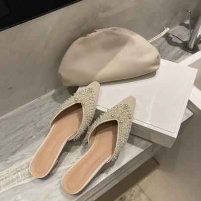 Fashion Pearl Decor Pointed Flats NSHU61116