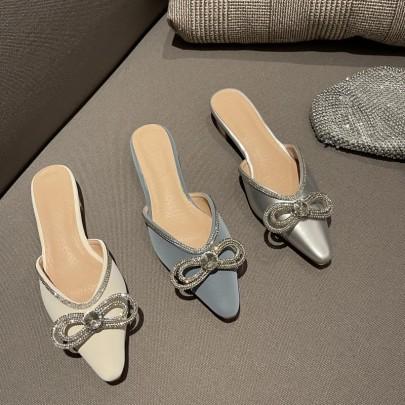 Fashion Rhinestoned Bow Decor Flats NSHU61117