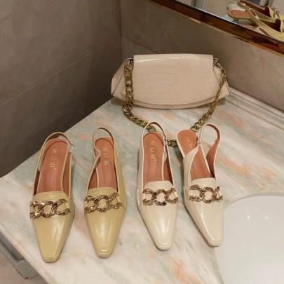 Fashion Square Toe Metal Buckle High Heels  NSHU61118