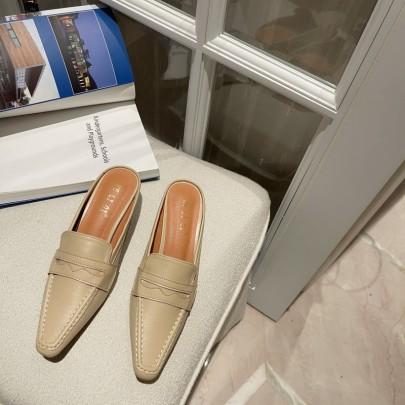 Fashion Leather High-heeled Mules NSHU61119
