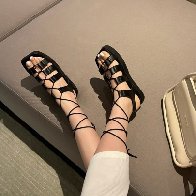 Low-heeled Cross Straps Square Toe Shoes NSHU61124
