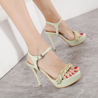 Trend Chain Decor Ankle Strap Heeled Sandals NSHU61126
