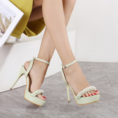 Fashion Solid Color Heeled Sandals NSHU61127