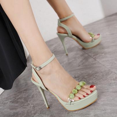 High Heel Open Toe Beaded Buckle Sandals NSHU61128
