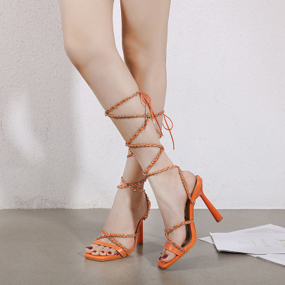 Fashion Solid Color Leg Tie Heeled Sandals NSHU61129