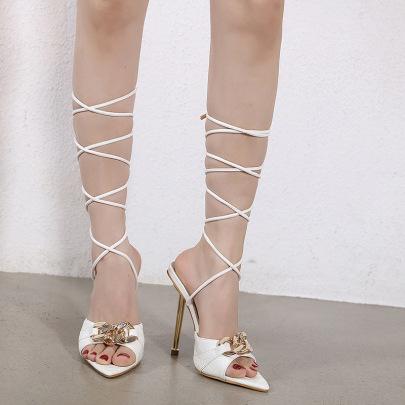 Fashion Metal Decor Leg Tie Pointed Heels NSHU61131
