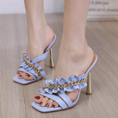 Sexy Square Open Toe High Heels NSHU61132