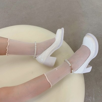 Retro Round Head Pearl Ankle Ring Shallow High Heel Shoes NSHU61134
