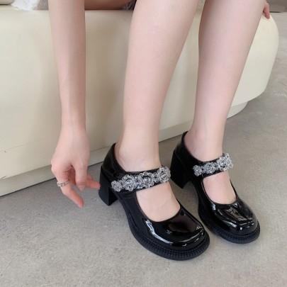 Fashion Clear Balls Chain Decor Round Toe Shoes NSHU61136