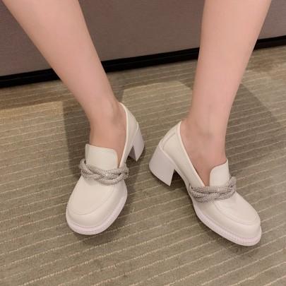 Fashion Rhinestoned Interwoven Chain Decor Casual Shoes NSHU61135
