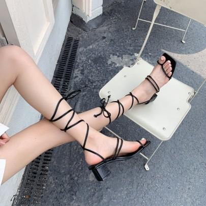 Fashion Solid Color Leg Tie Square Toe Sandals NSHU61138
