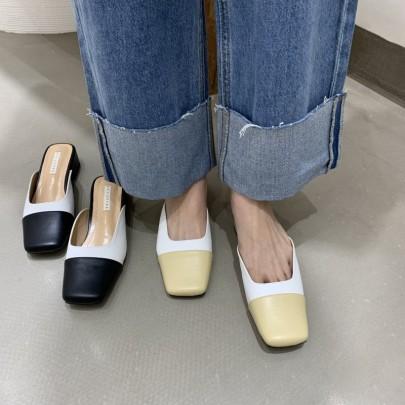 Fashion Splicing Leather Slide Sandals NSHU61139