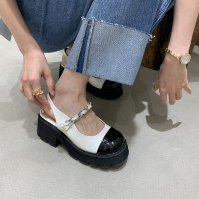 Cover Toe Color Matching Slingback Shoes NSHU61140