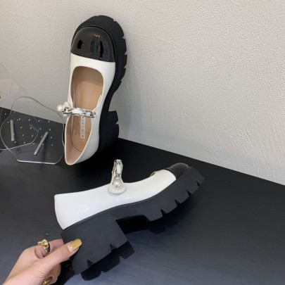 Chain Platform Leather Thick Heel Buckle Shoes  NSHU61141