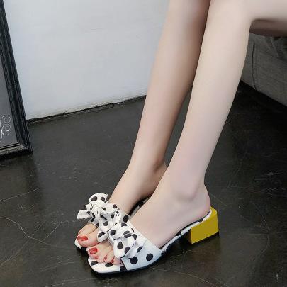 Thick Heel Polka Dot Bow Women NSZSC61148