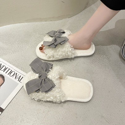 Pure Color Suede Bow Slippers NSZSC61155