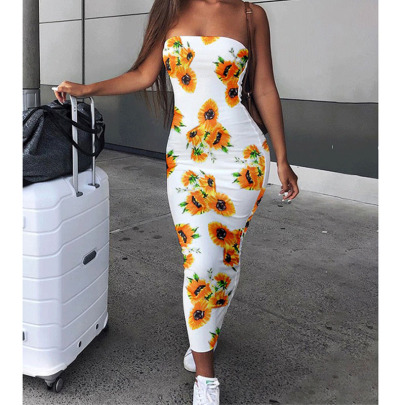 Printed Sleeveless Chest Wrap Dress NSYIS61269