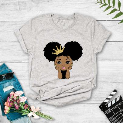 Cartoon Cute Kid Character Print Short-sleeved T-shirt NSYAY61210