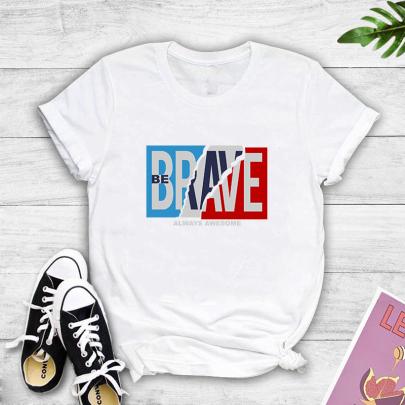 Creative Split Color Matching Letter Print Short-sleeved T-shirt NSYAY61208